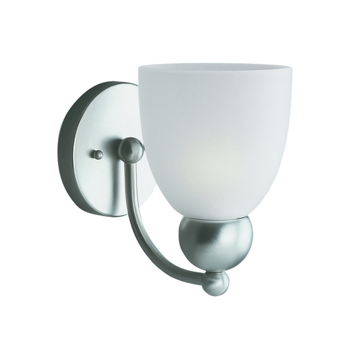 Sea Gull Lighting Modern Sconce Wall Light with White Glass in Brushed Nickel Finish 41035-962
