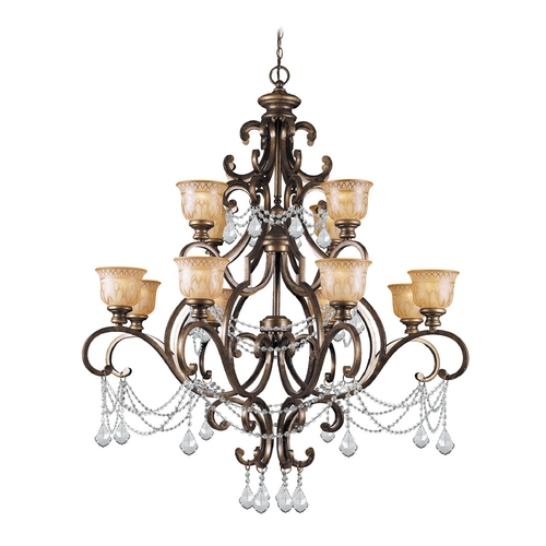 Crystorama Lighting Crystal Chandelier with Amber Glass in Bronze Umber Finish 7512-BU-CL-SAQ