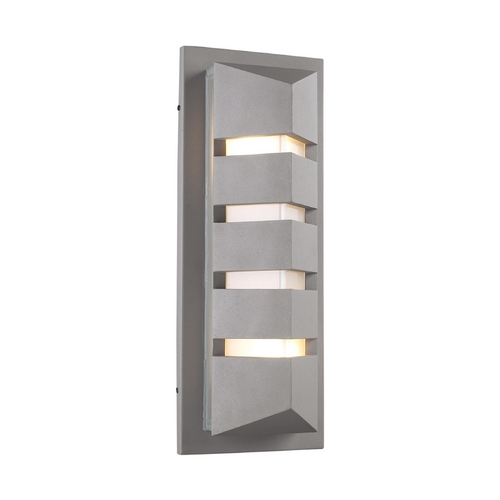 PLC Lighting Modern Outdoor Wall Light with White Glass in Silver Finish 16613 SL
