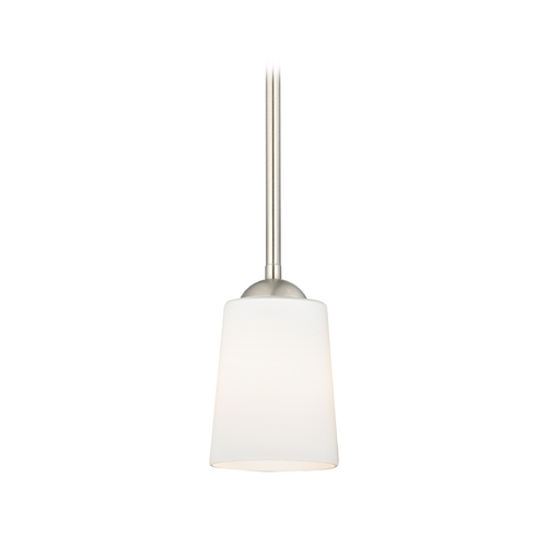 Design Classics Lighting Satin Nickel Mini-Pendant Light with Satin White Glass 581-09 GL1027