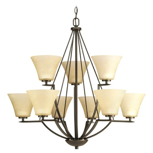 Progress Lighting Progress Chandelier with Brown Glass in Antique Bronze Finish P4625-20