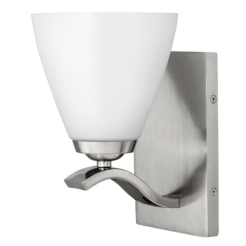Hinkley Lighting Sconce with White Glass in Brushed Nickel Finish 5370BN