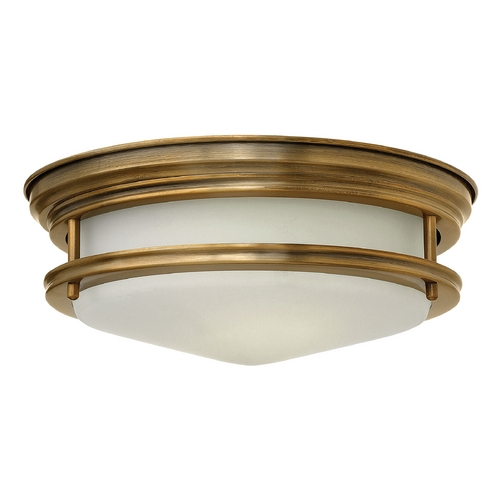 Hinkley Lighting Flushmount Light with White Glass in Brushed Bronze Finish 3302BR