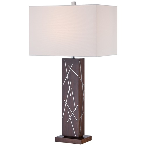 George Kovacs Lighting George Kovacs Portables Dark Walnut with Chrome Accents Table Lamp with Rectangle Shade P1611-0