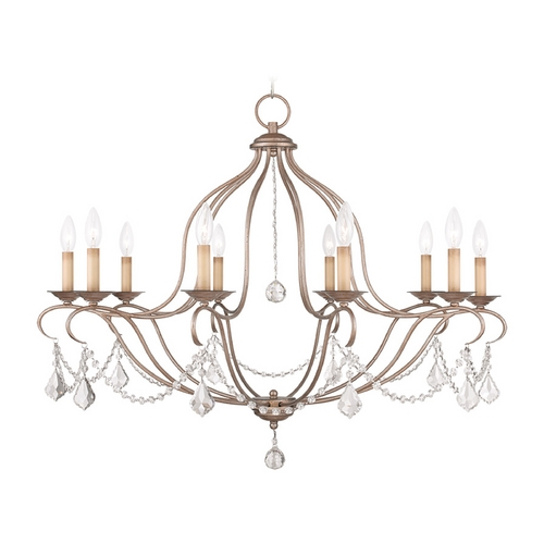 Livex Lighting Livex Lighting Chesterfield Antique Silver Leaf Crystal Chandelier 6430-73