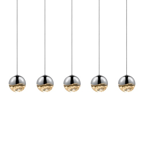 Sonneman Lighting Sonneman Grapes Polished Chrome 5 Light LED Multi-Light Pendant   2921.01-MED