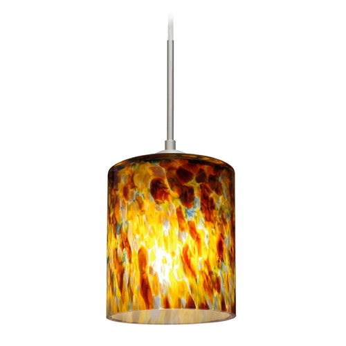 Besa Lighting Besa Lighting Falla Satin Nickel Mini-Pendant Light with Cylindrical Shade 1JT-FAL6QZ-SN