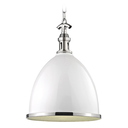 Hudson Valley Lighting Hudson Valley Lighting Viceroy Polished Nickel Pendant Light with Bowl / Dome Shade 7718-WPN