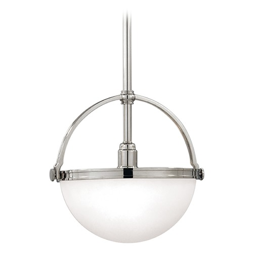 Hudson Valley Lighting Pendant Light with White Glass in Polished Nickel Finish 3312-PN