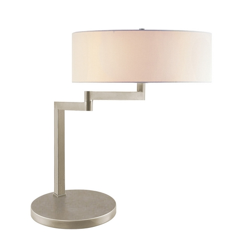 Sonneman Lighting Modern Table Lamp with White Shade in Satin Nickel Finish 3625.13