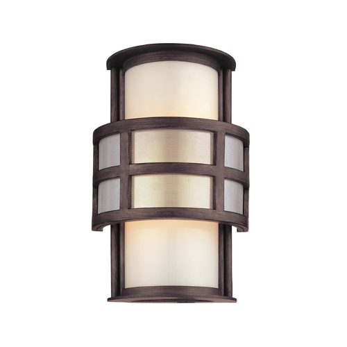 Troy Lighting Outdoor Wall Light with White Glass in Graphite Finish B2731