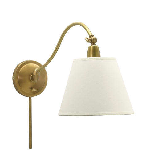 House of Troy Lighting Wall Lamp with White Shade in Weathered Brass Finish HP725-WB-WL