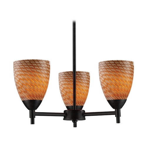 Elk Lighting Mini-Chandelier with Art Glass in Dark Rust Finish 10154/3DR-C