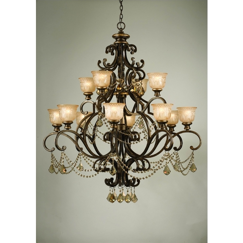 Crystorama Lighting Crystal Chandelier with Amber Glass in Bronze Umber Finish 7512-BU-GT-MWP