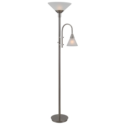 Kenroy Home Lighting Torchiere Floor Lamp with Reading Light  32234BS