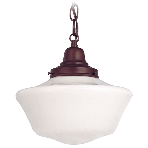 Design Classics Lighting 10-Inch Schoolhouse Mini-Pendant Light with Chain in Bronze Finish FB4-220 / GA10 / B-220