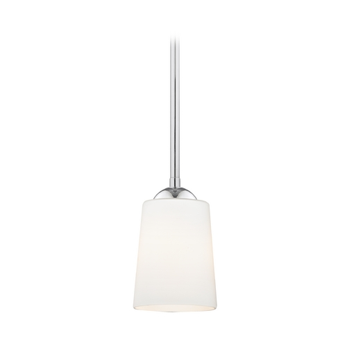 Design Classics Lighting Polished Chrome Mini-Pendant Light with Satin White Glass 581-26 GL1027