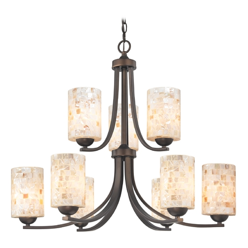 Design Classics Lighting Chandelier with Mosaic Glass in Neuvelle Bronze Finish 586-220 GL1026C