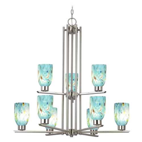Design Classics Lighting Chandelier with Blue Art Glass in Satin Nickel - 9-Lights 1122-1-09 GL1021D