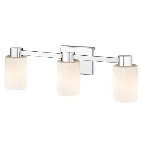 Design Classics Lighting 3-Light White Glass Bathroom Vanity Light Chrome 2103-26 GL1028C