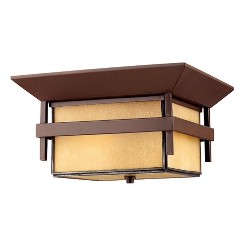 Hinkley Amber Seeded Glass Outdoor Flush Ceiling Light Bronze Hinkley 2573AR