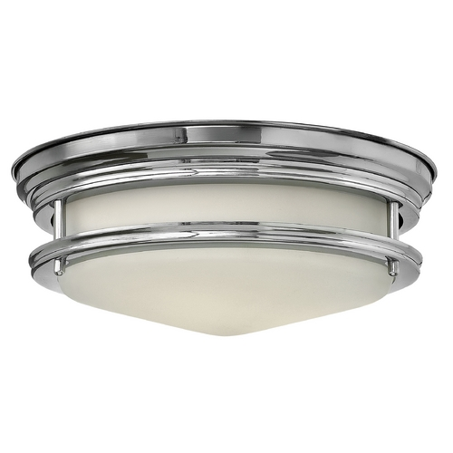 Hinkley Lighting Flushmount Light with White Glass in Chrome Finish 3302CM