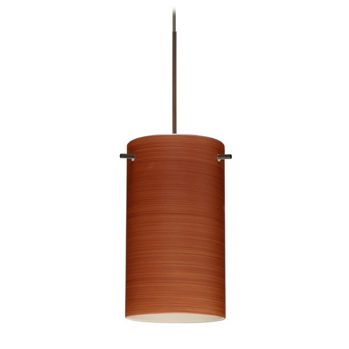 Besa Lighting Besa Lighting Stilo 7 Bronze LED Mini-Pendant Light with Cylindrical Shade 1XT-4404CH-LED-BR