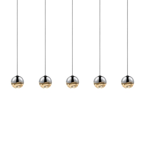 Sonneman Lighting Sonneman Grapes Polished Chrome 5 Light LED Multi-Light Pendant   2921.01-SML