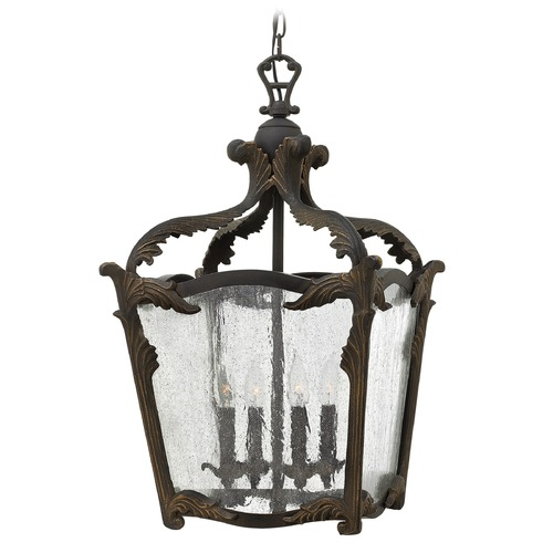 Hinkley Lighting Hinkley Lighting Sorrento Aged Iron Pendant Light with Triangle Shade 4524AI
