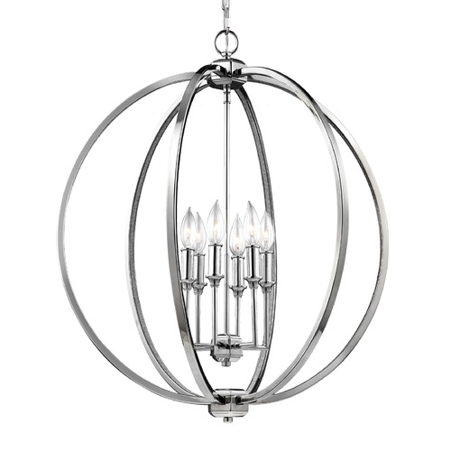 Feiss Lighting Feiss Lighting Corinne Polished Nickel Pendant Light F3061/6PN