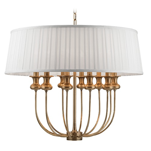 Hudson Valley Lighting Pembroke 12 Light Pendant Light Drum Shade - Aged Brass 5412-AGB