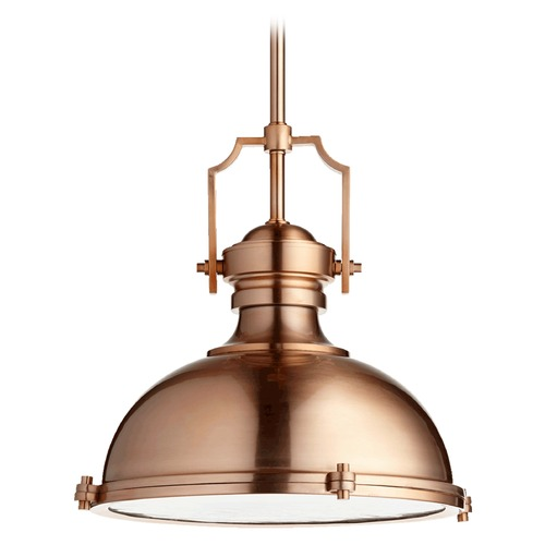Quorum Lighting Quorum Lighting Satin Copper Pendant Light with Bowl / Dome Shade 814-20-49