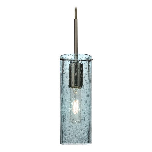 Besa Lighting Besa Lighting Juni Bronze Mini-Pendant Light with Cylindrical Shade 1JT-JUNI10BL-BR