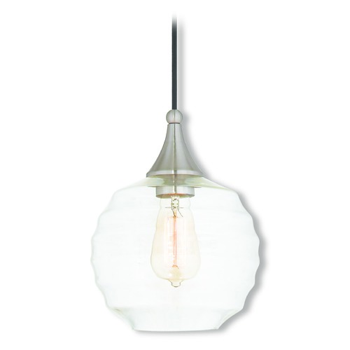 Livex Lighting Livex Lighting Art Glass Mini Pendant Brushed Nickel Mini-Pendant Light with Globe Shade 40611-91