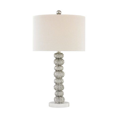 Dimond Lighting Dimond New Caledonia Silver Leaf and White Marble Table Lamp with Drum Shade D3046