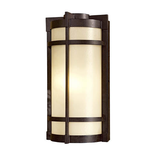 Minka Lavery Outdoor Wall Light with Beige / Cream Glass in Textured French Bronze Finish 72020-A179-PL
