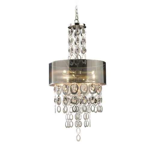 Elk Lighting Modern Drum Pendant Light with Clear Glass in Silver Leaf Finish 14062/3