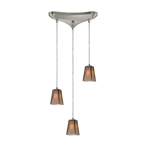 Elk Lighting Modern Multi-Light Pendant Light with Amber Glass and 3-Lights 31143/3