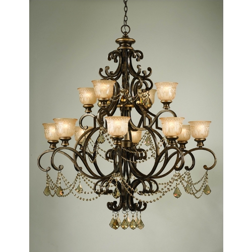 Crystorama Lighting Crystal Chandelier with Amber Glass in Bronze Umber Finish 7512-BU-GTS