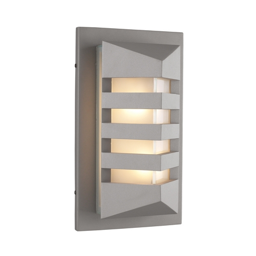 PLC Lighting Modern Outdoor Wall Light with White Glass in Silver Finish 16611 SL