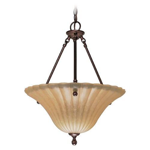 Nuvo Lighting Pendant Light with Beige / Cream Glass in Copper Bronze Finish 60/013