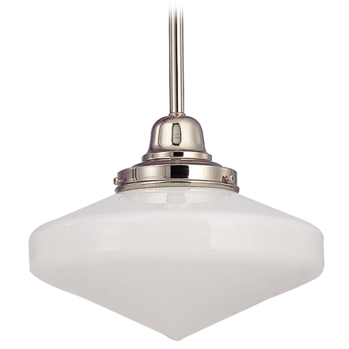 Design Classics Lighting 10-Inch Schoolhouse Mini-Pendant light with Opal White Glass FB4-15 / GE10