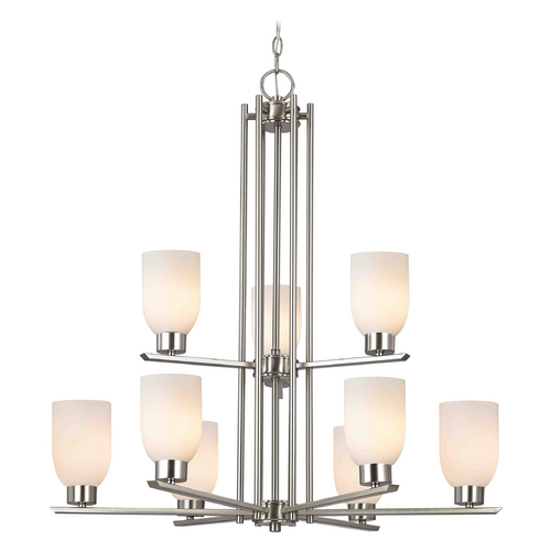 Design Classics Lighting Chandelier with White Glass in Satin Nickel - 9-Lights 1122-1-09 GL1024D