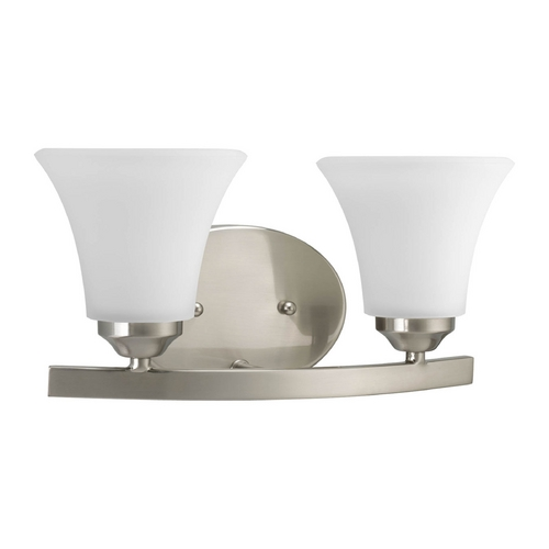 Progress Lighting Progress Bathroom Light with White Glass in Brushed Nickel Finish P2009-09