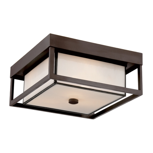 Quoizel Lighting Close To Ceiling Light with White Glass in Western Bronze Finish PWL1613WT