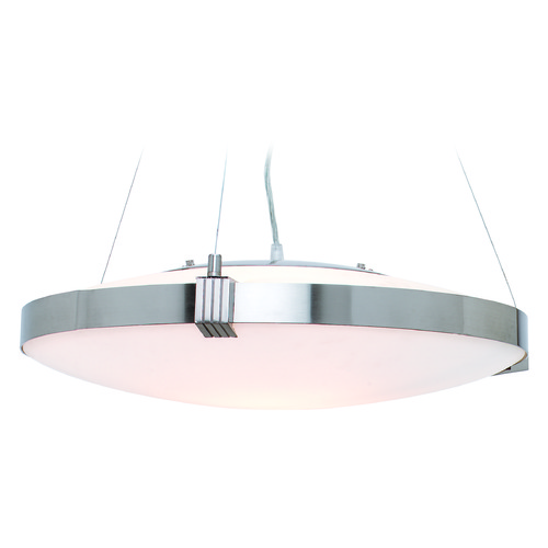 Access Lighting Access Lighting Luna Brushed Steel Pendant Light with Bowl / Dome Shade 50102-BS/OPL