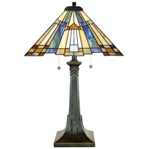 Quoizel Lighting Table Lamp with Tiffany Glass in Valiant Bronze Finish TFT16191A1VA