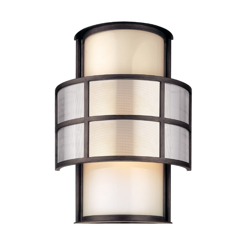 Troy Lighting Outdoor Wall Light with White Glass in Graphite Finish B2733