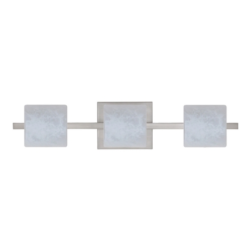 Besa Lighting Modern Bathroom Light White Glass Satin Nickel by Besa Lighting 3WS-787319-SN
