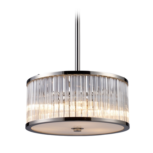 Elk Lighting Modern Drum Pendant Light with Clear Glass in Polished Nickel Finish 10128/3